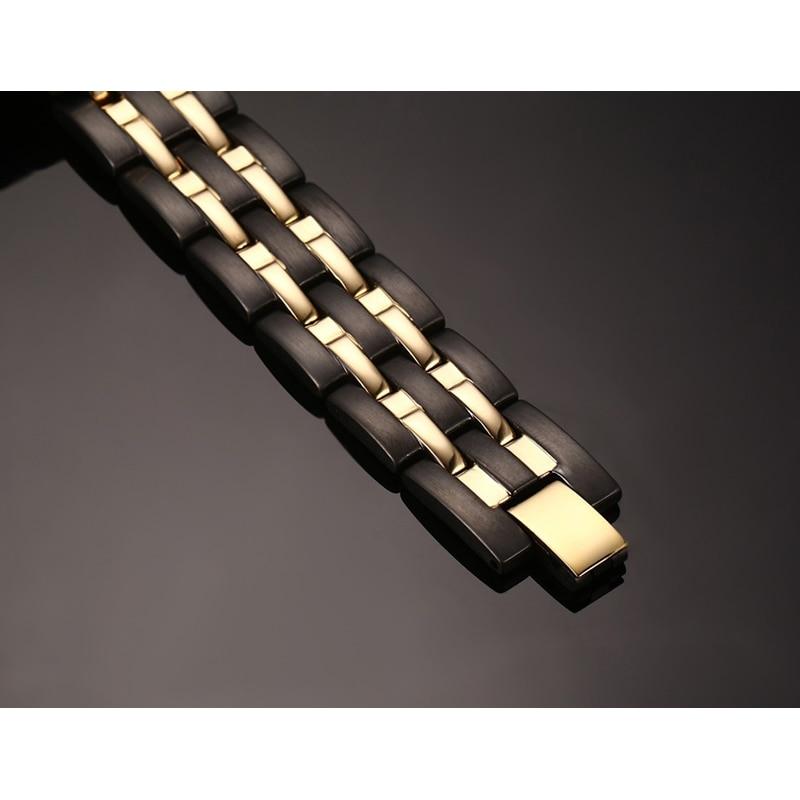 Rainso Kesehatan Magnetic Gelang Mens Rantai Tangan Gelang Hitam - Perhiasan fashion - Foto 5