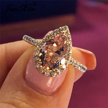 JUNXIN Pear Cut Pink Stone Engagement Ring For Women Rose Gold Filled Boho Female aaa