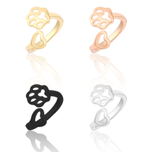 цены New Multi-Color Simple Dog Claw Ring Creative Hollow Love Dog Claw Jewelry Charm Female Opening Adjustable Size Ring Animal Ring