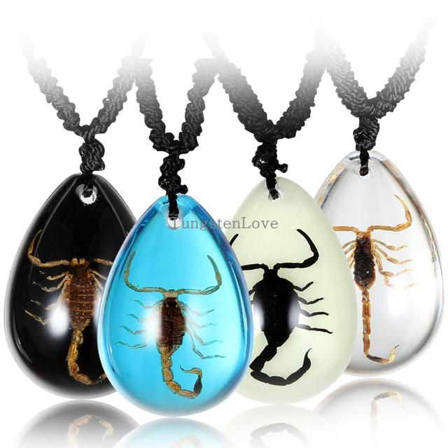 Insect necklace transparent simulated scorpion pendant necklace with insect necklace transparent simulated scorpion pendant necklace with rope chain 22 adjustable multi colors aloadofball Choice Image