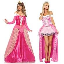 Размера плюс S-XXL взрослых Для женщин сказочной принцессы Авроры розовое нарядное платье на Хэллоуин вечерние костюм «Спящая красавица» наряд