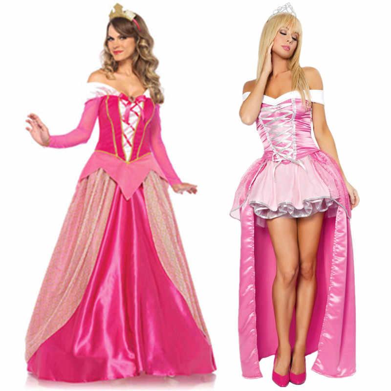 De talla grande S-XXL adultos mujeres cuento de hadas princesa Aurora Rosa vestido de fantasía fiesta de Halloween disfraz de la Bella Durmiente atuendo