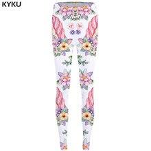 182e589b98662 KYKU Unicorn Leggings Flower 3d pants Pink Sexy Leggings High Waist leggins  Trousers Women Jeggins Funky Fitness Elastic New