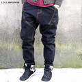 Men Drop Crotch Loose Jeans Hiphop New 2017 Male Harem Denim Pants Plus Size Hip Hop Streetwear Skateboarder Jeans Black / Blue