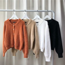 OLN Womens Loose Pure Color Plush Cardigan Round Collar 2019New Style Casual Winter Females Streetwear Sweater Short Coat 6552