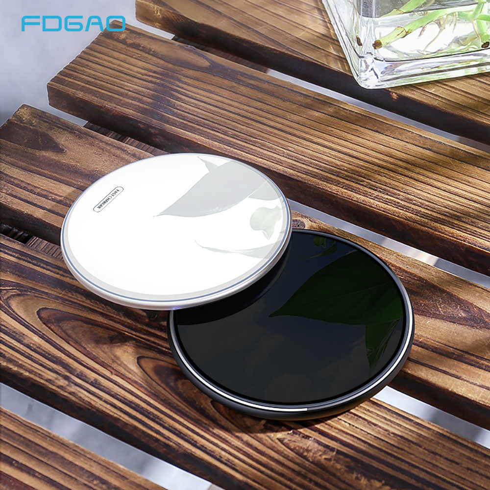 FDGAO 15W Fast Wireless Charger For iPhone 8 Plus X XR Xs Max Qi Quick 10W Charging Pad For Samsung S10 S9 Note 8 9 Xiaomi Mi 9 in Wireless Chargers from Cellphones Telecommunications