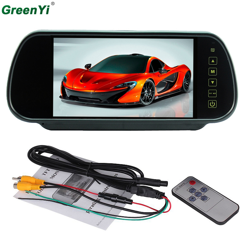 GreenYi M700 Wholesale 10 PCS 1 Lot 7 inch TFT Color Mirror LCD Car Rearview Screen Monitor Backup Camera With 2 Video Input