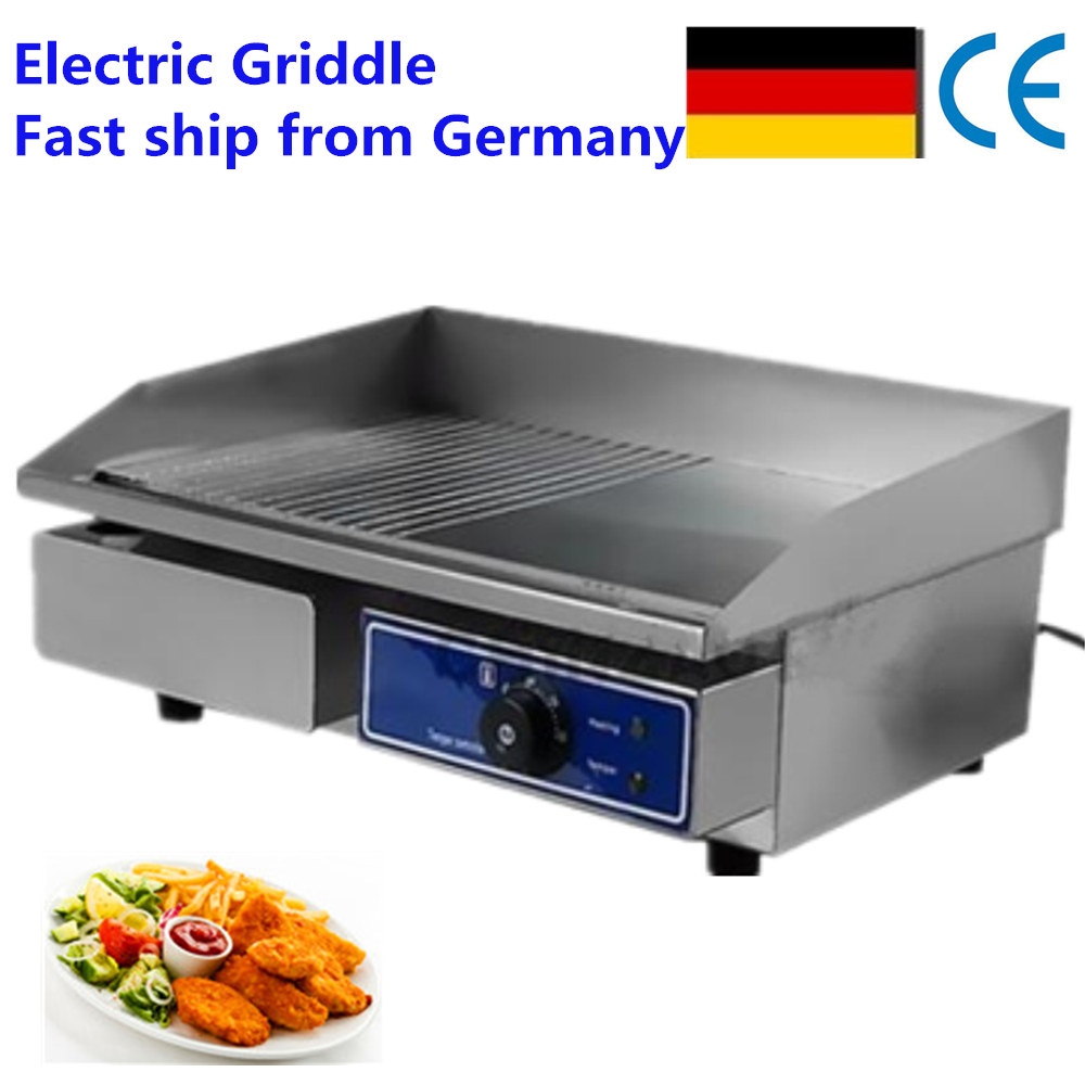 Fast ship From Germany !  cheap  Electric Teppanyaki Grill Flat Griddle with Large Cooking Surface Iron Flat Upgraded Version stainless steel electric grill griddle teppanyaki griddle dorayaki grill machine with double temperature controllers