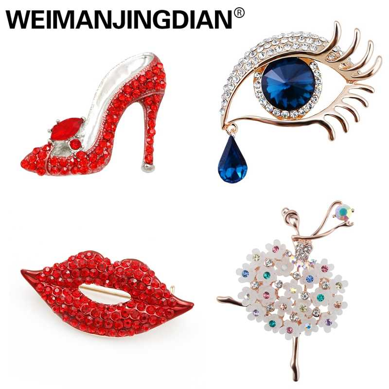 WEIMANJINGDIAN Brand New Arrival Assorted Girl's Favors Lips / High Heel / Eye / Dancing Fashion Brooch Pins Collections