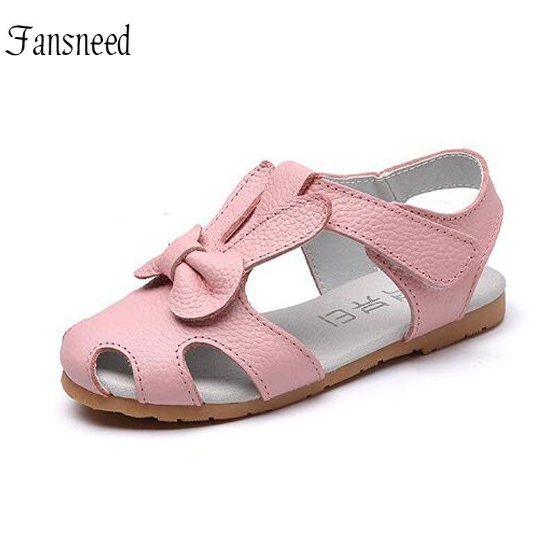 Summer New Genuine Leather Girls Sandals Children S Rabbit