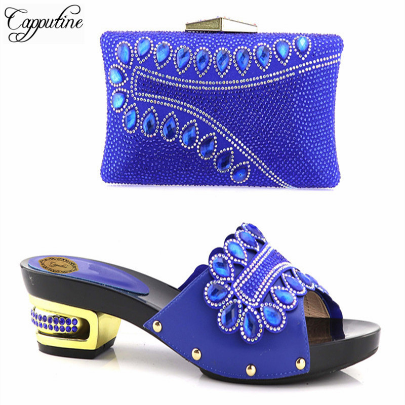 Capputine High Quality Decorated Rhinestone Women Shoe And Bag Set African Style Low Heels Matching Party Shoes And Bag Set capputine new arrival rhinestone slipper shoes and matching bag set africa style high heels shoes and bag set evening party