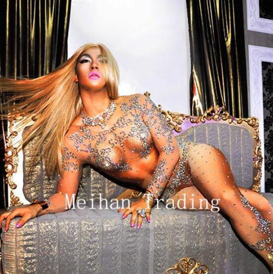 Luxury Big Stones Crystals Sexy Dress Sparkly Rhinestones Bodysuit Nightclub Bar Party Prom Celebrate Outfit Performance Dresses