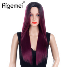 Aigemei Long Stright Synthetic Wigs 26 Inch 6 Color No Lace Ombre Cospaly Heat Resistant Hair T Part