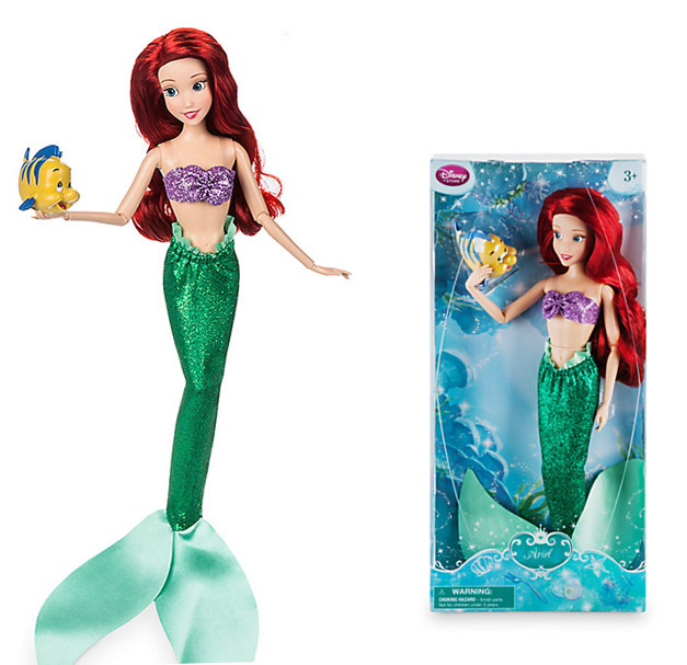 Original DISNEY Store Little Ariel Classic princess Doll with Flounder Figure 12 girl gift