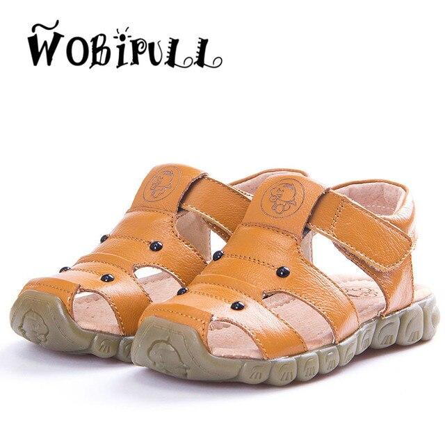 WOBIPULL 2017 лето детская обувь Из Натуральной Кожи детские сандалии высокое качество коровьей рыбак обувь мальчик сандалии 21-36