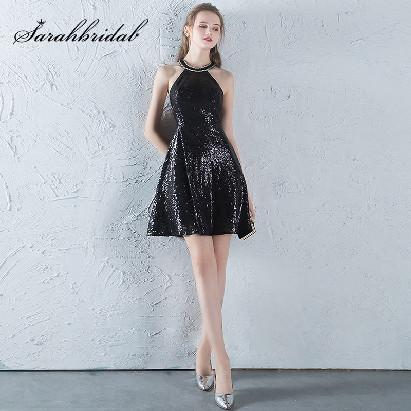 Little Black Cocktail Dresses 2019 Summer Sexy Halter Backless Shining Sequin Short Formal Prom Homecoming Party Gowns L3452