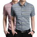Fashion plaid Casual Male Short Sleeve Shirt Men 5XL Cotton Slim Fit Mens Dress Shirts Camisa Social Masculina
