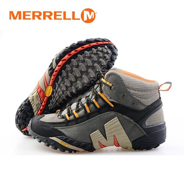 bfbd4da8f2b3 Merrell Мужская профессиональные открытый натуральная кожа серый Пеший  Туризм обувь устойчивы тепло mountainner V нижние кроссовки