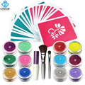 OPHIR 12 Color Temporary Tattoos Glitter Powder with Stencils & Glue for Body Tattoo Nail Art Acrylic Glitter Body Art Paint