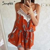 Simplee Sexy Tassel Backless Boho Jumpsuit Romper Women Flower Print Bow Sleeveless Playsuit Summer Beach Short