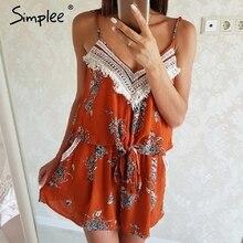 Simplee Сексуальная кисточкой спинки Boho комбинезон женщин цветок печати лук комбинезон без рукавов летние пляжные короткие комбинезоны