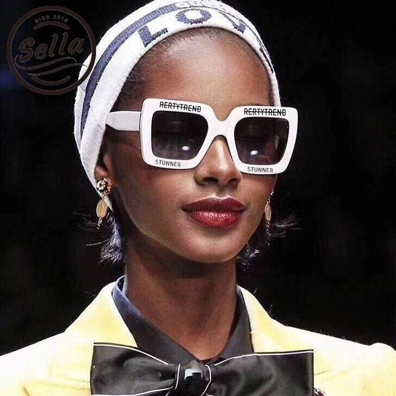 Sella 2018 New European Style Oversized Square Sunglasses Fashion Women Men Gradeint/Red Lens White Frame Sun Glasses