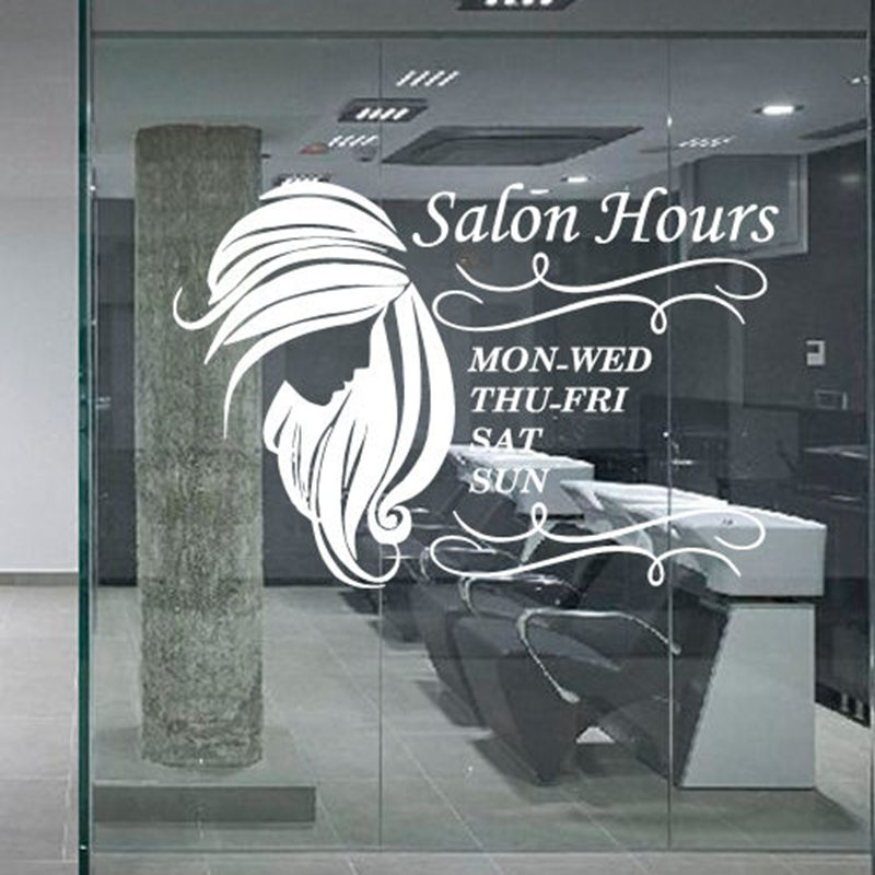 Hair salon sticker beauty decal haircut name posters time hour vinyl wall art decals decor decoration mural salon sticker in wall stickers from home
