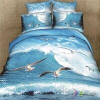 3D impressão onda do mar gaivotas cama definir lençóis Capa de Edredon Fronha Lençol Roupa de Cama Queen size 4 pcs