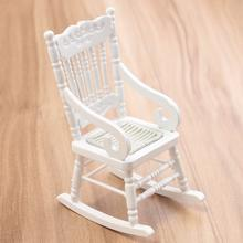 New 1:12 Dollhouse Miniature Furniture White Wooden Rocking Chair Hemp Rope Seat For Dolls House Accessories Decor Toys(China)