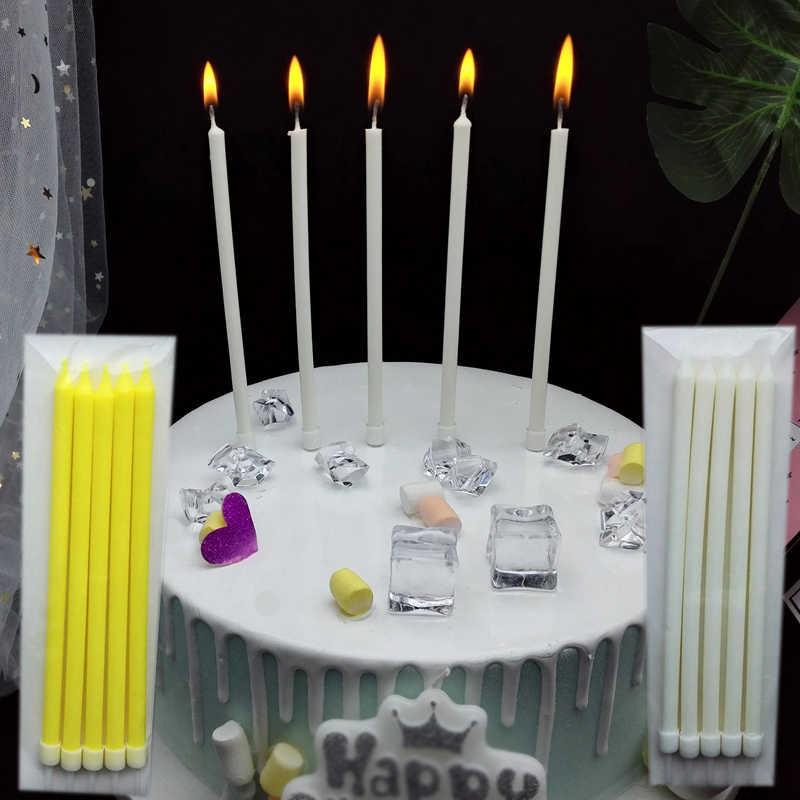 לבן נר צהוב חמש שקיות ארוך אור מוט נר באיכות גבוהה רזה נרות עם עוגת קישוט