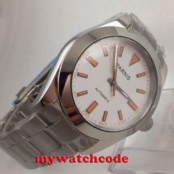 40mm parnis biała tarcza szafirowe szkło automatyczny ruch miyota męski zegarek P201