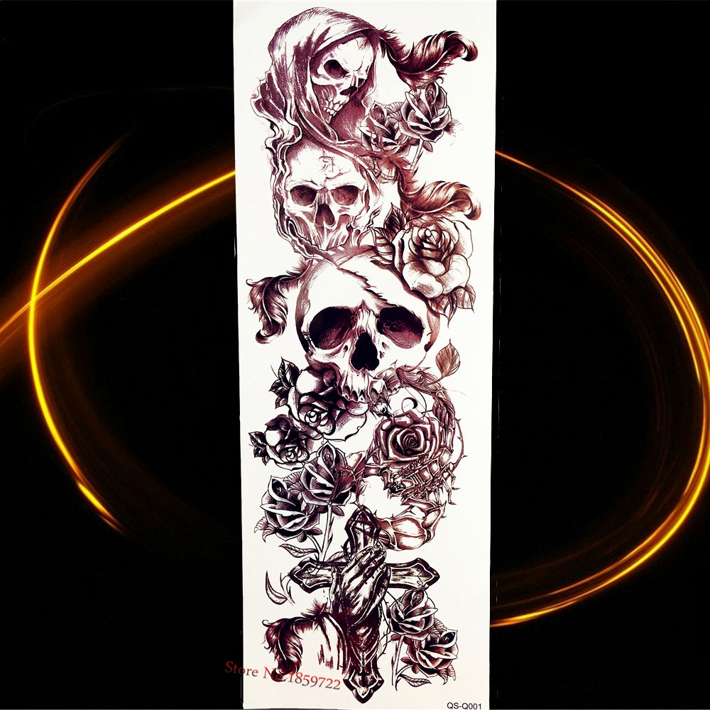 46*17CM Black King Leoric Waterproof Temporary Tattoo Stickers Women Men Skull Large Big Flower Arm Tattoo Sleeve Flower Cross
