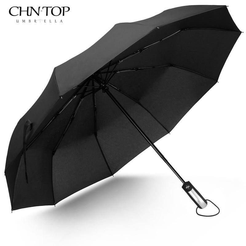 Freies Verschiffen Wind Beständig Klapp Automatische Regenschirm Männlichen Auto Luxus Große Winddicht Regenschirme Für Männer Regen Schwarz Beschichtung 10 karat