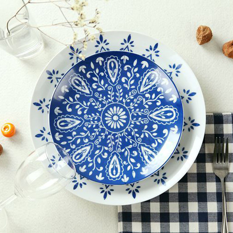 Blue and White Ceramic Porcelain Plate Dish Dinnerware Set (2 pcs) with Floral Pattern & Guci english 56Piece dinnerware set Ceramic iniduality dishes ...