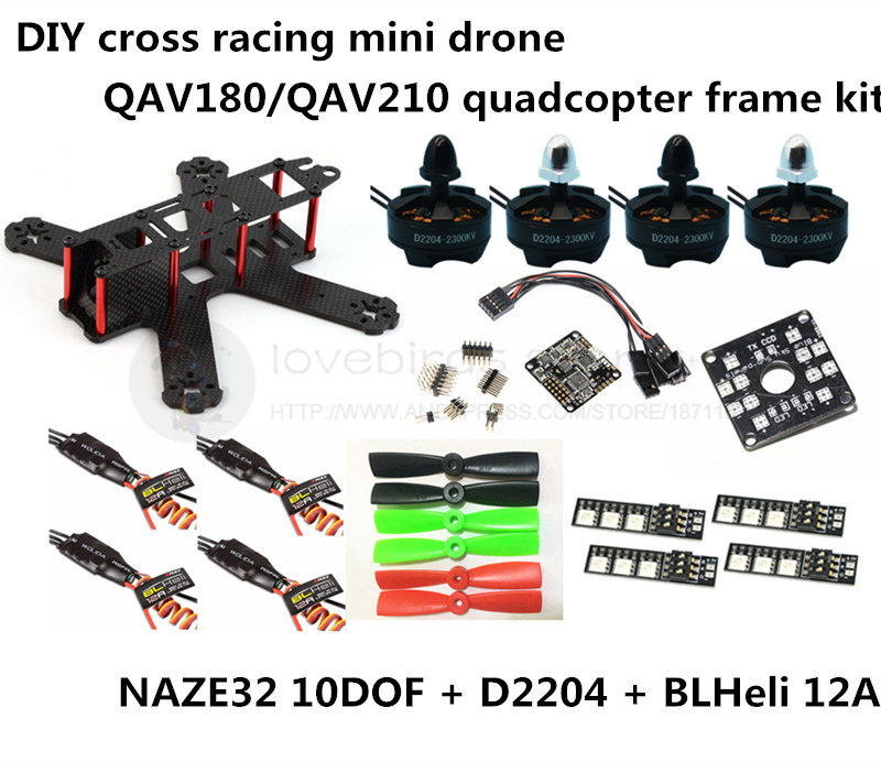 DIY FPV mini drone QAV180 / QAV210 race quadcopter frame kit pure carbon NAZE32 10DOF + D2204 + BLheli 12A ESC Special price diy fpv mini drone qav210 zmr210 race quadcopter full carbon frame kit naze32 emax 2204ii kv2300 motor bl12a esc run with 4s