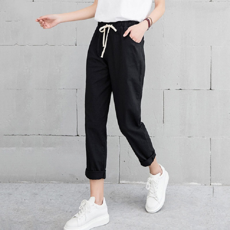 Linen Pants Black Trousers Harem Mid-Waist Elastic Office Lady Summer Casual Fashion