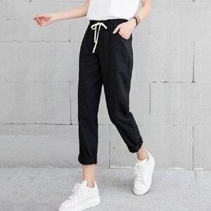 Image 1 - קיץ הרמון פשתן מכנסיים נשים אופנה אלסטי אמצע מותן שחור מכנסיים 2019 Pantalon Femme משרד ליידי מקרית מכנסי עיפרון