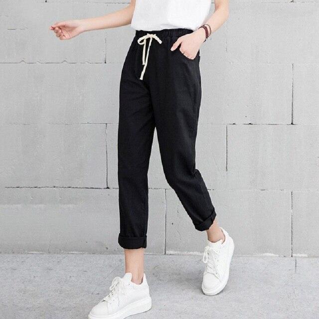 קיץ הרמון פשתן מכנסיים נשים אופנה אלסטי אמצע מותן שחור מכנסיים 2019 Pantalon Femme משרד ליידי מקרית מכנסי עיפרון