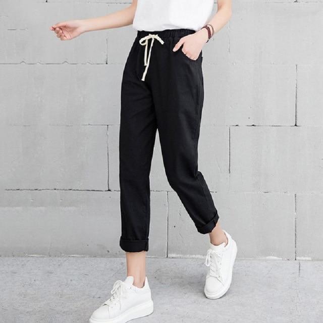 Pantalon en lin pour Femme, sarouel, taille moyenne élastique, mode, noir, Pantalon crayon, de bureau, collection 2019