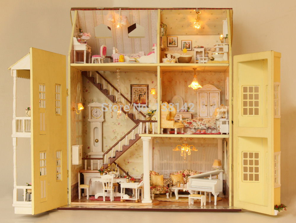 a010 large diy wooden dollhouse villa doll house music and led lights miniatures for decoration miniature model toys in doll houses from toys hobbies on - Wooden Dollhouses Designs