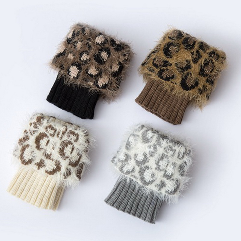 1 par de Leopard invierno corto calcetines de punto calentadores de ...