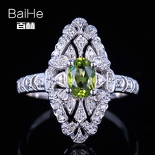 BAIHE Sterling Silver 925 0.8ct Certified Flawless Oval cut Genuine Peridot Wedding Women Office/career Fine Jewelry unique Ring