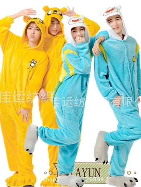 New Unisex Pajamas Anime Cosplay Costume Adult Adventure Time Finn Jake Sleepwear  Costume Animal Onesie Pajamas Halloween Suit c9eeb4afa
