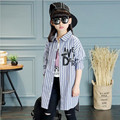Girls dress in spring autumn fashion school girl shirt stripe shirts leisure coat type shirt children clothing children's clothe