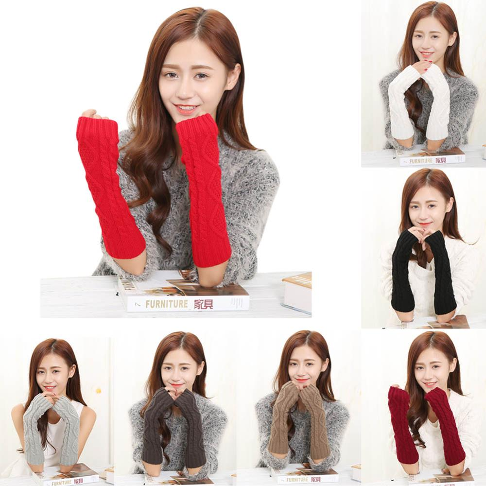 1 Pair Autumn Winter Women Gloves Solid Color Warm Knitting Wool Mittens Arm Warmer Ladies Girls Long Fingerless Glove H