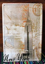 Pub signs tower NEW YORK Tin signs vintage Wall art bar decor Metal painting vintage home pub signs cafe 20X30 CM Free shipping