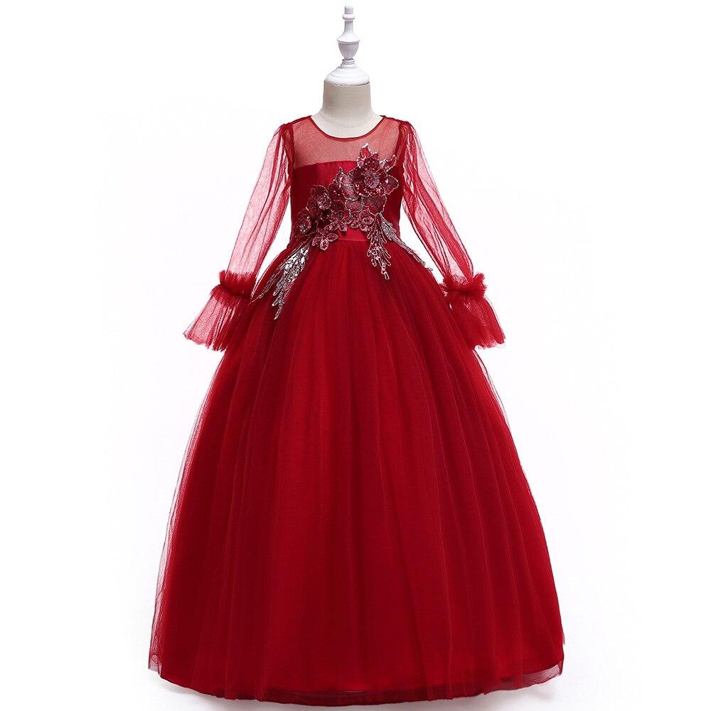 Little   Flower     Girl     Dresses   for Weddings Burgundy Removable Skir First Holy Communion   Dress   for   Girls   Kids Pageant   Dress