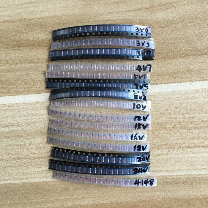 LL34 SMD Zener pacchetto diodo 1 2 W 3 v-24 v 15 tipi   20 pz   300 pz  1N4148 KIT b98cb897dd10