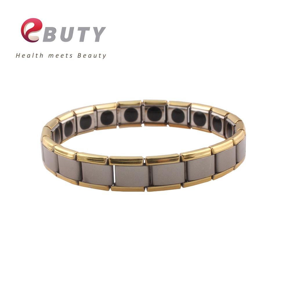 EBUTY Stainless Steel Bracelets Bangle 20 Germanium Rolling Stones Quantum Energy Bracelet Health Jewelry 2pcs lot