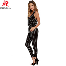 Europe Sexy Fashion Striped Jumpsuit Women 2018 Summer Elegant Female Bodysuit Pocket Elastic Waist Backless Long Romper Overall